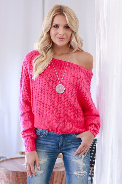 Sweet Like A Georgia Peach Sweater - Hot Pink knit trendy, soft, fuzzy off the shoulder sweater, Closet Candy Boutique 1