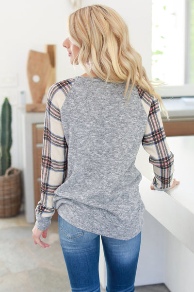 Another Chilly Night Top - Grey, pink, ivory plaid women's long sleeve, fall outfit, closet candy boutique 4