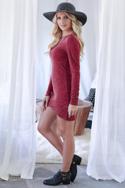 Hooked On You Long Sleeve Dress - Wine women's trendy knit dress, perfect for date night, cute fall style closet candy boutique 3