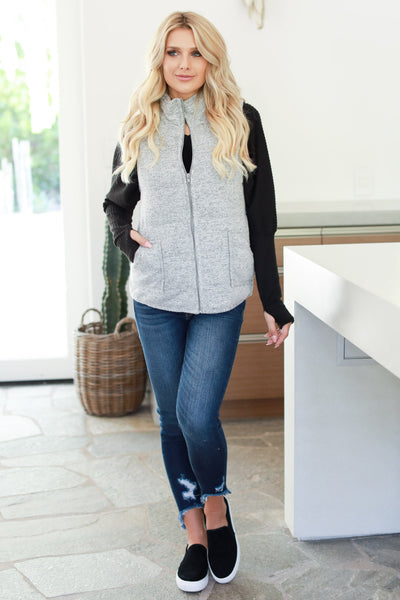 So This Is Love Quilted Vest - Heather Grey women's cozy fall vest closet candy boutique 5