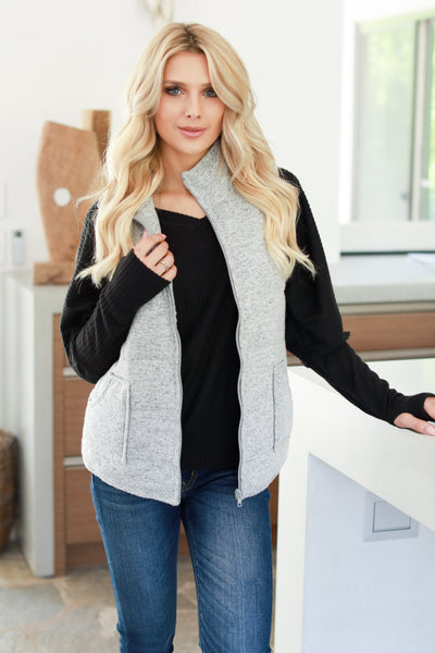 So This Is Love Quilted Vest - Heather Grey women's cozy fall vest closet candy boutique 1