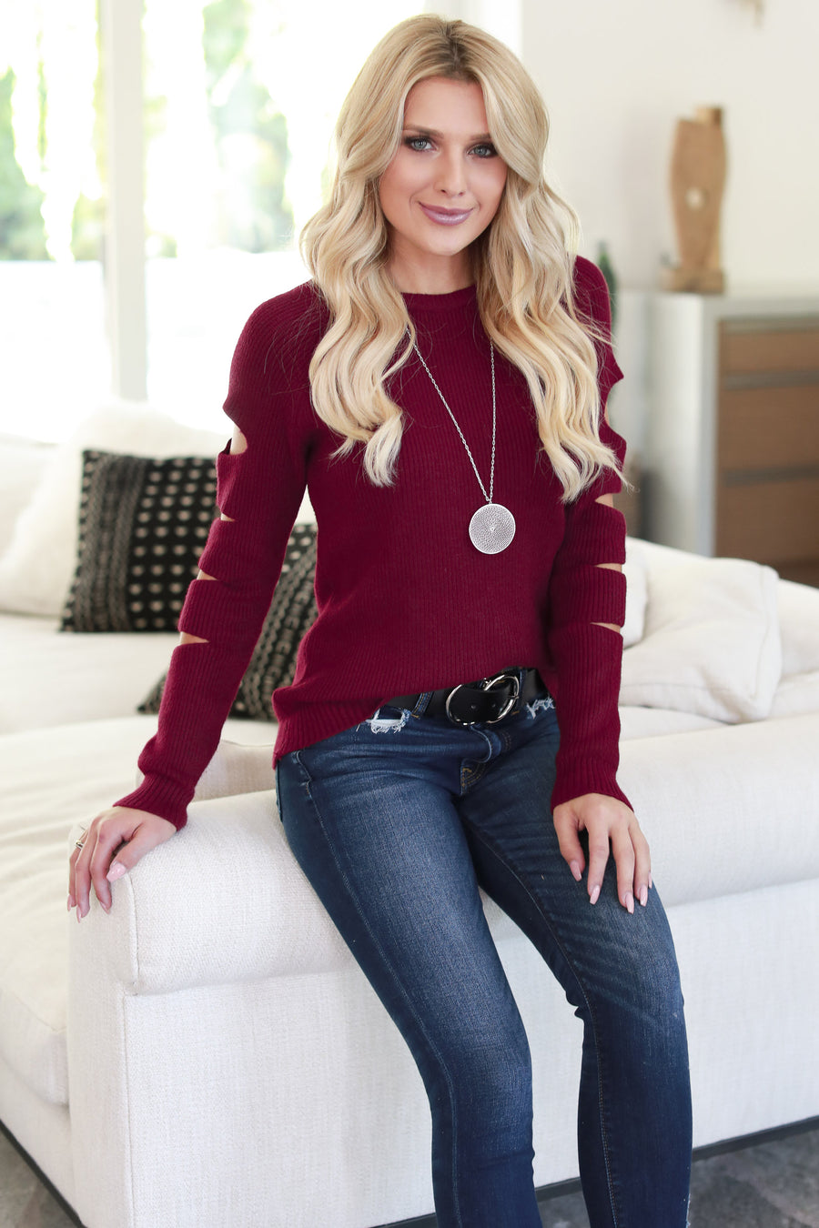 Cutting Edge Knit Sweater - Burgundy women's top, long sleeves, trendy cutout details, closet candy boutique 1