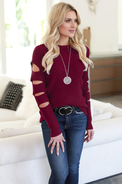 Cutting Edge Knit Sweater - Burgundy women's top, long sleeves, trendy cutout details, closet candy boutique 4