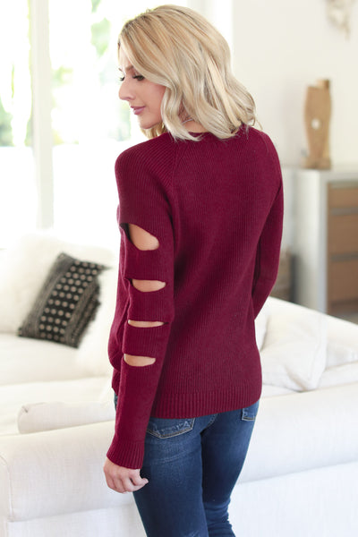 Cutting Edge Knit Sweater - Burgundy women's top, long sleeves, trendy cutout details, closet candy boutique 5