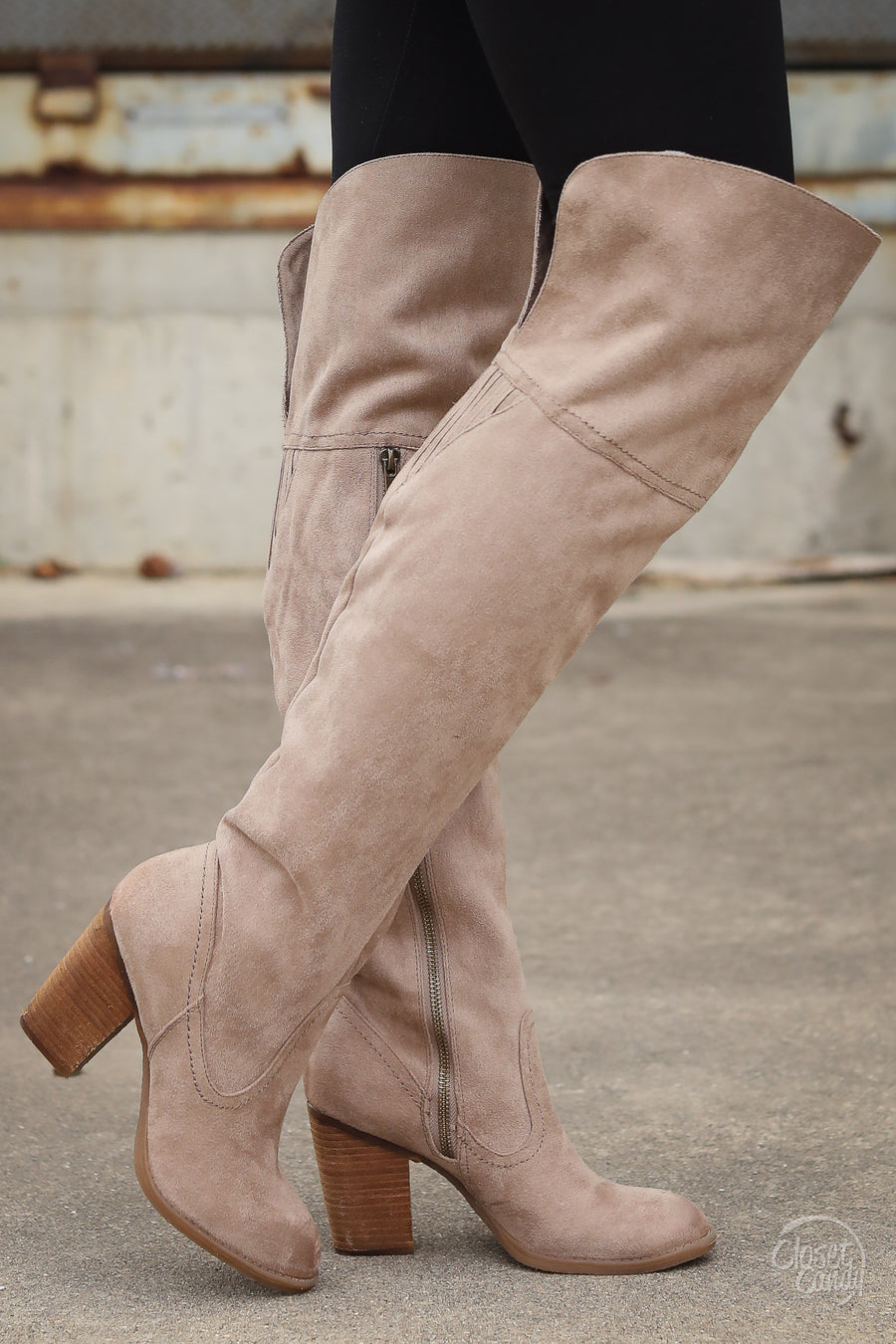 Andra Over the Knee Boots - cute taupe suede over the knee boot, front, Closet Candy Boutique