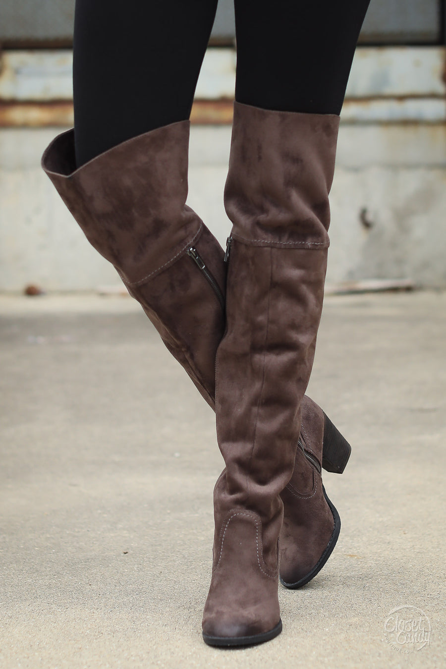 Andra Over the Knee Boots - suede OTK heeled boots, side, Closet Candy Boutique