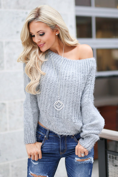 Sweet Like A Georgia Peach Sweater - Grey knit trendy, soft, fuzzy off the shoulder sweater, Closet Candy Boutique 2