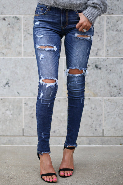KAN CAN Distressed Skinny Jeans - Gigi Wash adorable, trendy women's distressed denim pants closet candy boutique 1