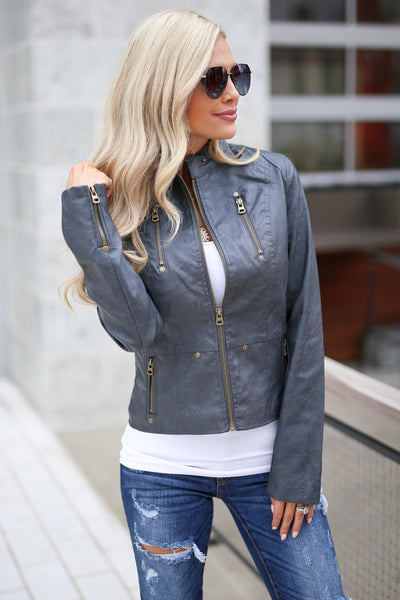 Ready For Take Off Jacket - Charcoal women's leather jacket, zipper, pockets, Closet Candy Boutique 2