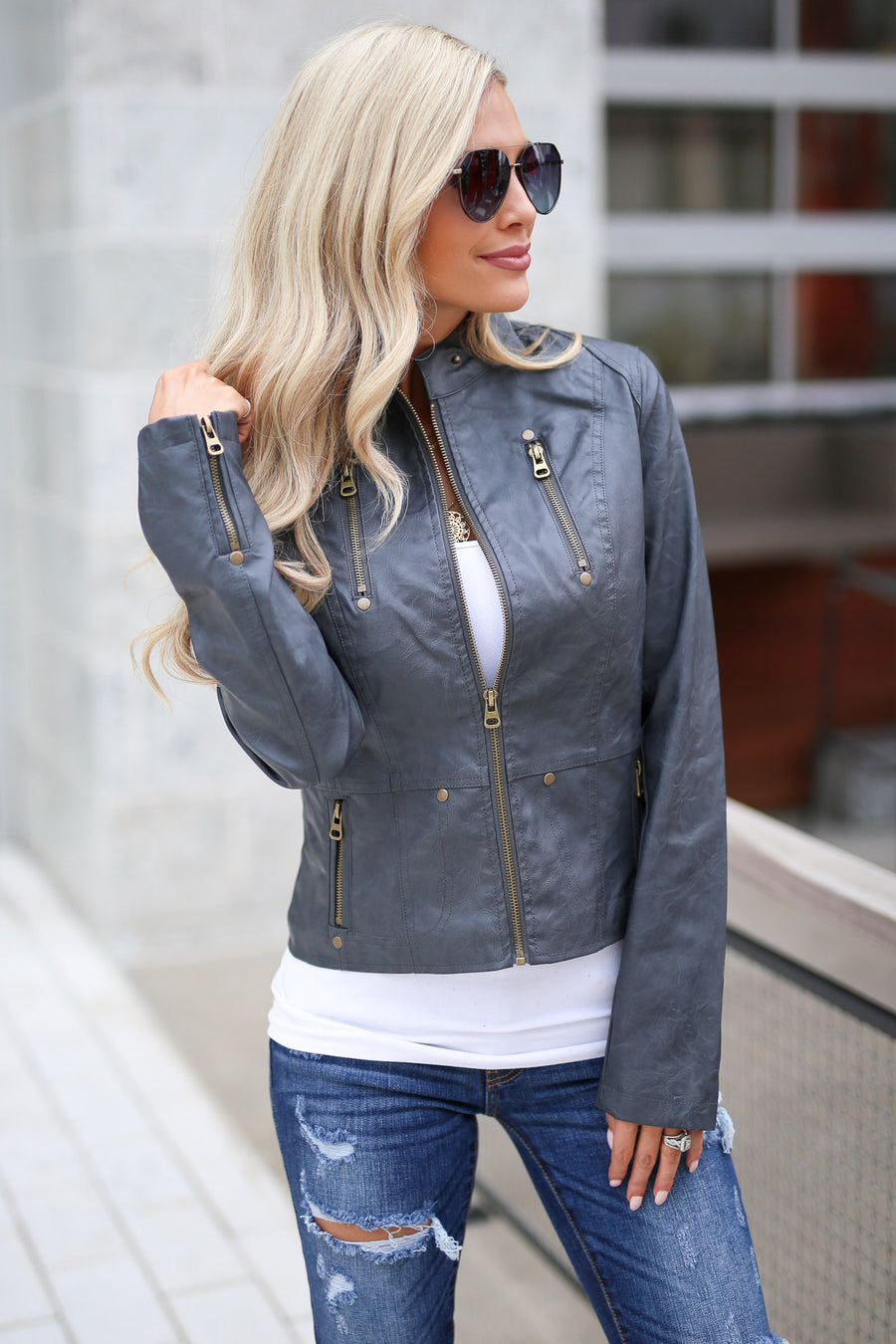 Ready For Take Off Jacket - Charcoal women's leather jacket, zipper, pockets, Closet Candy Boutique 1
