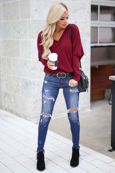 Spice Things Up Knit Top - Burgundy women's long sleeve knit sweater top with trendy thumb holes closet candy boutique 1