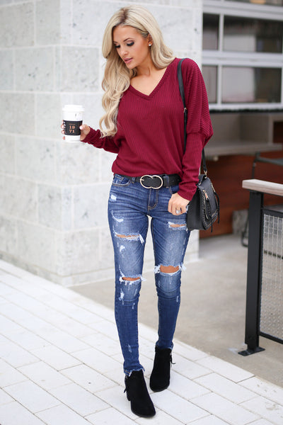 Spice Things Up Knit Top - Burgundy women's long sleeve knit sweater top with trendy thumb holes closet candy boutique 3
