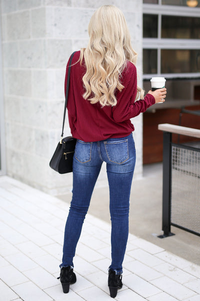 Spice Things Up Knit Top - Burgundy women's long sleeve knit sweater top with trendy thumb holes closet candy boutique 4