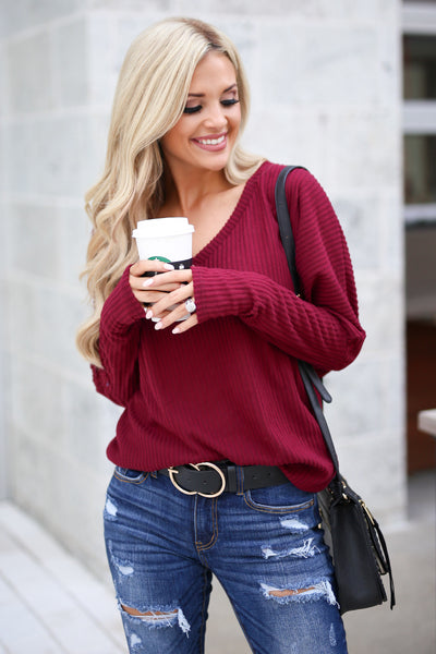 Spice Things Up Knit Top - Burgundy women's long sleeve knit sweater top with trendy thumb holes closet candy boutique 2