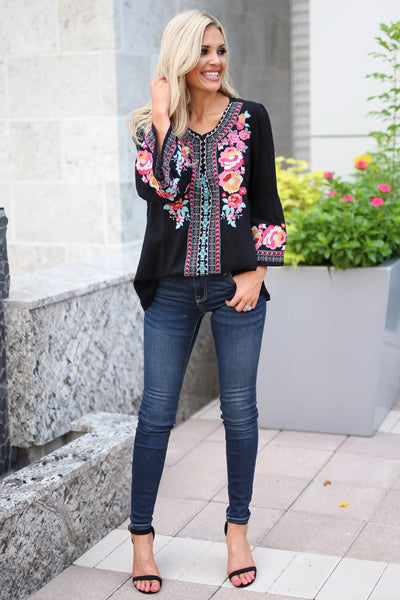 Beauty In The Details Top - Black bell sleeve top, colorful floral embroidery, closet candy boutique 2