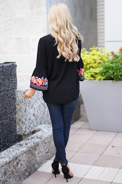 Beauty In The Details Top - Black bell sleeve top, colorful floral embroidery, closet candy boutique 3