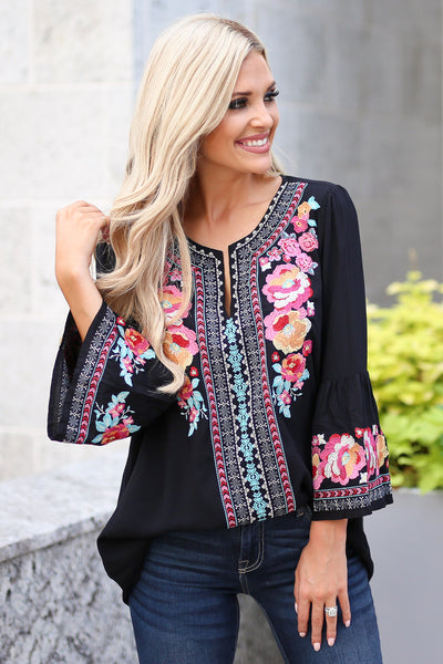 Beauty In The Details Top - Black bell sleeve top, colorful floral embroidery, closet candy boutique 4