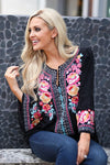Beauty In The Details Top - Black bell sleeve top, colorful floral embroidery, closet candy boutique 1