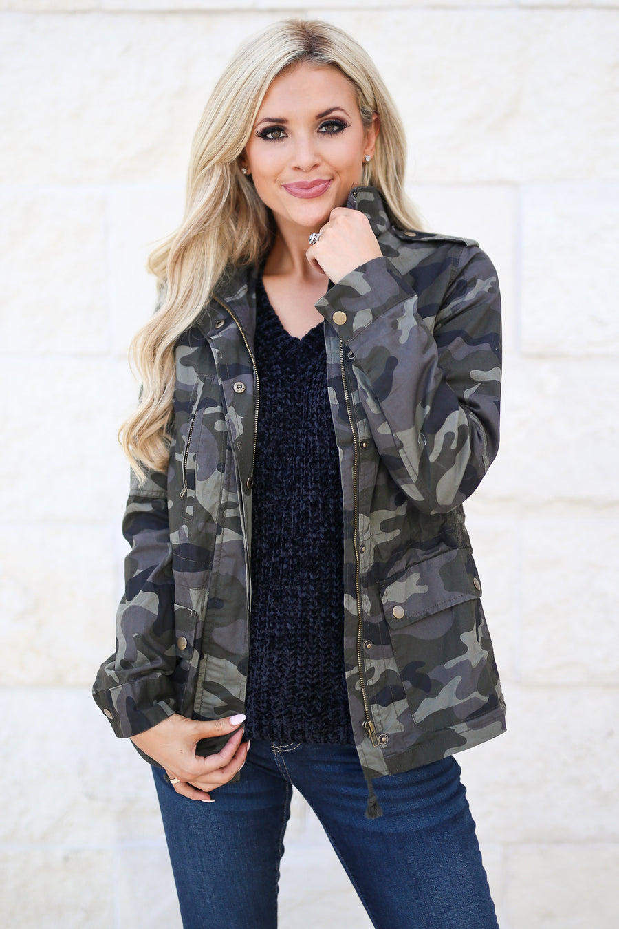 Rise & Grind Camo Jacket fall staple, trendy outerwear, closet candy boutique Tiffany 1