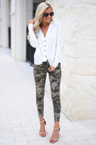 Like A Boss Distressed Camo Pants trendy boss babe distressed raw hem pants, closet candy boutique 5