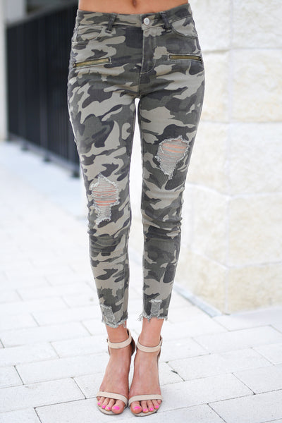 Like A Boss Distressed Camo Pants trendy boss babe distressed raw hem pants, closet candy boutique 3