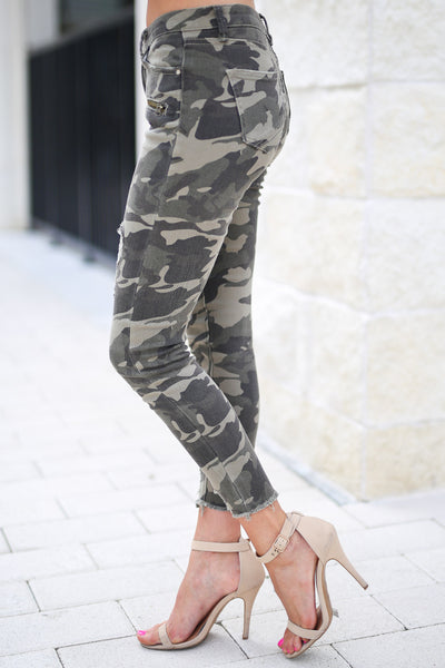 Like A Boss Distressed Camo Pants trendy boss babe distressed raw hem pants, closet candy boutique 2