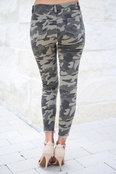 Like A Boss Distressed Camo Pants trendy boss babe distressed raw hem pants, closet candy boutique 4