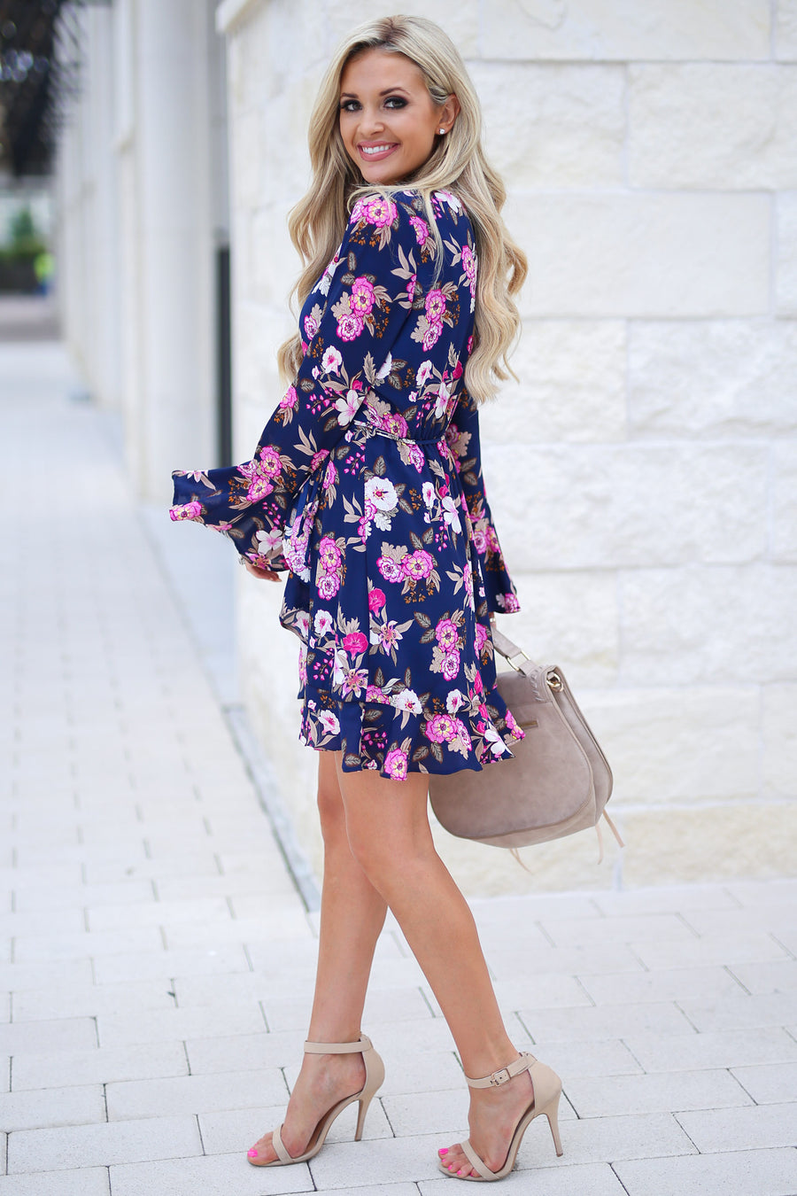 Flirty In Floral Wrap Dress - Navy fuchsia and white flowers, ruffle sleeves, adorable, closet candy boutique 1