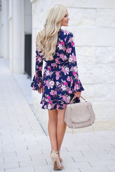 Flirty In Floral Wrap Dress - Navy fuchsia and white flowers, ruffle sleeves, adorable, closet candy boutique 3