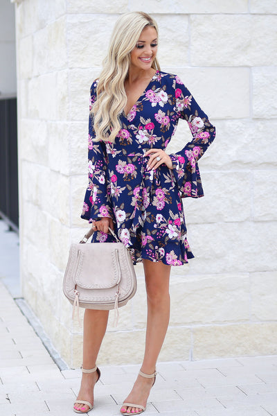 Flirty In Floral Wrap Dress - Navy fuchsia and white flowers, ruffle sleeves, adorable, closet candy boutique 4