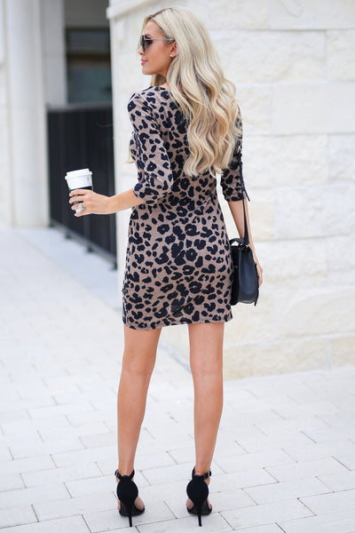 Perfectly Playful Leopard Dress - Latte color women's trendy form fitted dress, touching details, girls' night out style, fall outfit, closet candy boutique 4