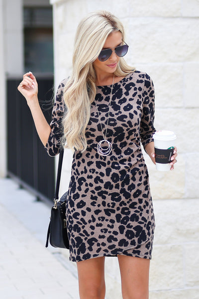 Perfectly Playful Leopard Dress - Latte color women's trendy form fitted dress, touching details, girls' night out style, fall outfit, closet candy boutique 2