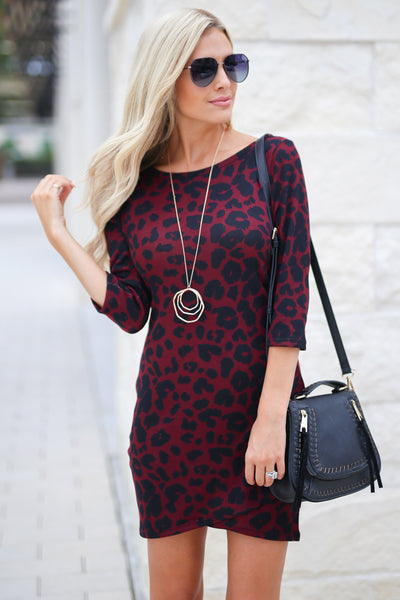 Perfectly Playful Leopard Dress - Wine color women's trendy form fitted dress, touching details, girls' night out style, fall outfit, closet candy boutique 3