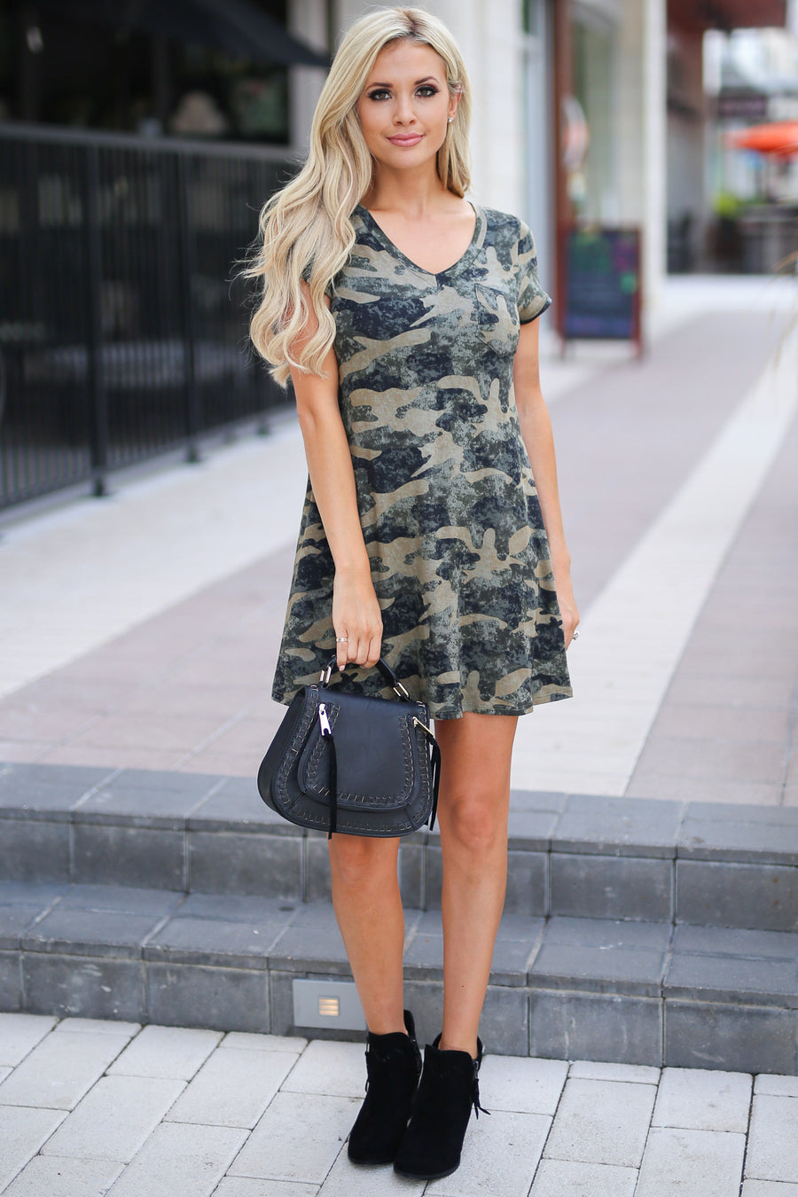 Coffee Date Camo T-Shirt Dress with chest pocket closet candy boutique 1