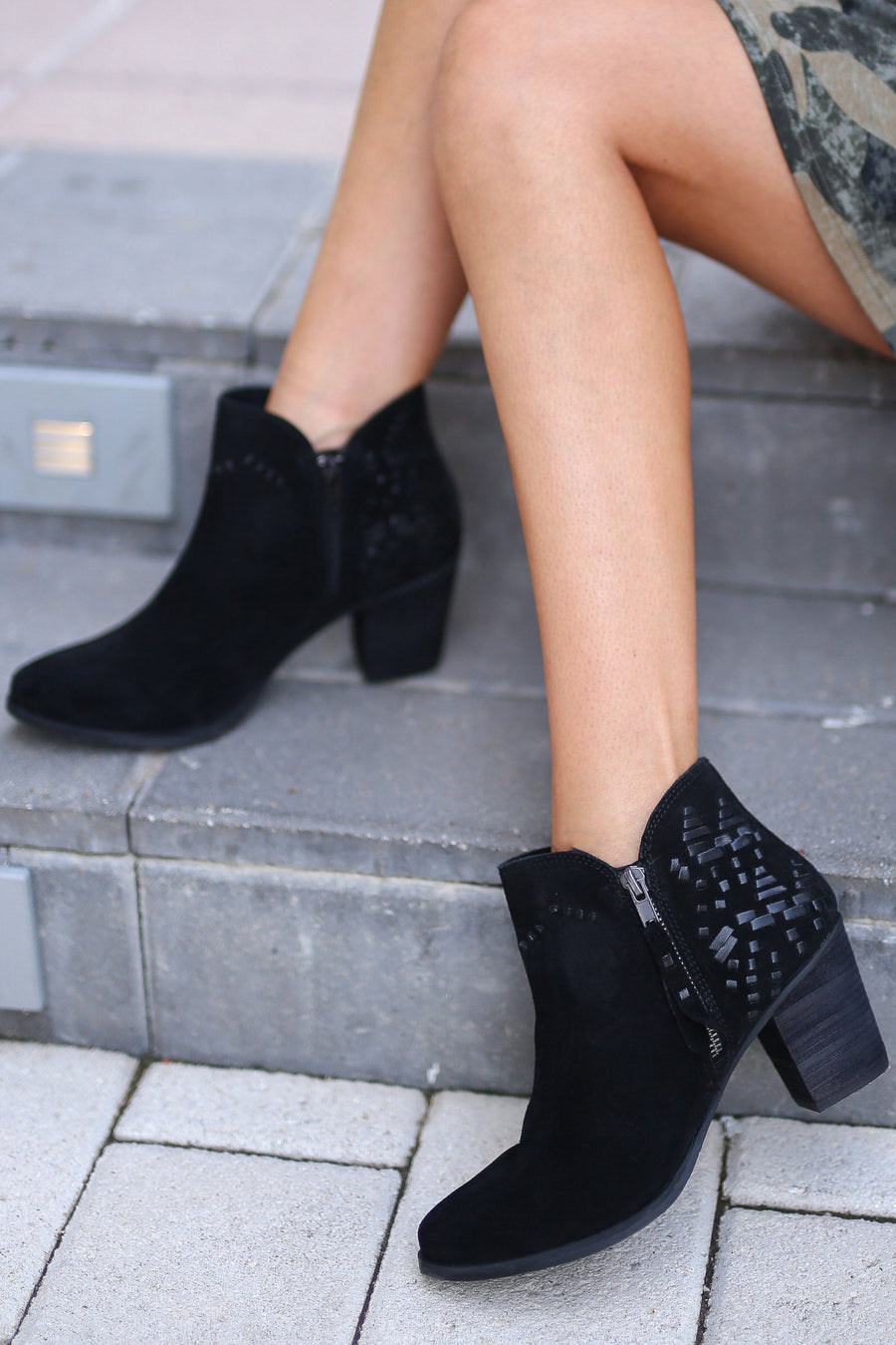 NAUGHTY MONKEY Lupina Suede Booties - Black ankle boots with details on back and heel closet candy boutique 5