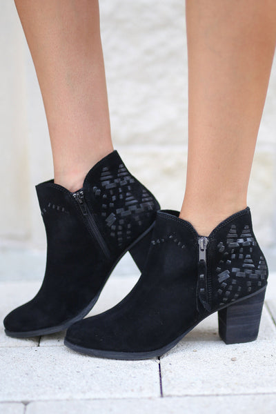 NAUGHTY MONKEY Lupina Suede Booties - Black ankle boots with details on back and heel closet candy boutique 2