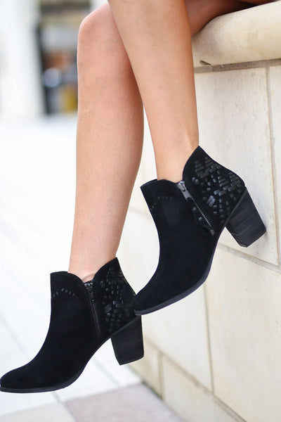 NAUGHTY MONKEY Lupina Suede Booties - Black ankle boots with details on back and heel closet candy boutique 3
