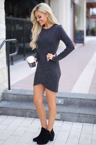 Hooked On You Long Sleeve Dress - Black women's trendy knit dress, perfect for date night, cute fall style closet candy boutique 4