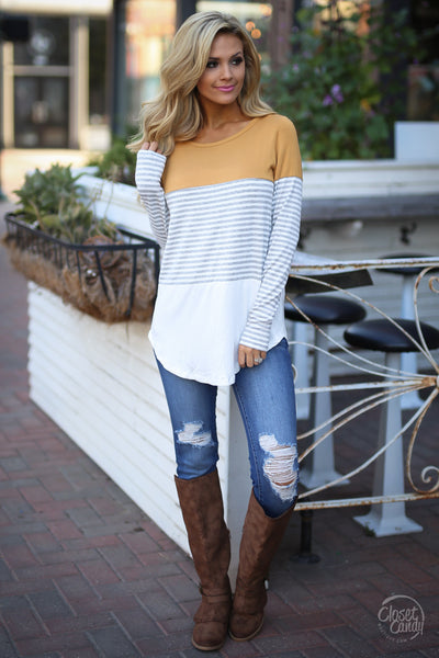 All Day Everyday Long Sleeve Top - mustard and stripe top, fall outfit, Closet Candy Boutique