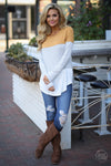 All Day Everyday Long Sleeve Top - Mustard and white contrast stripe top, Closet Candy Boutique 4