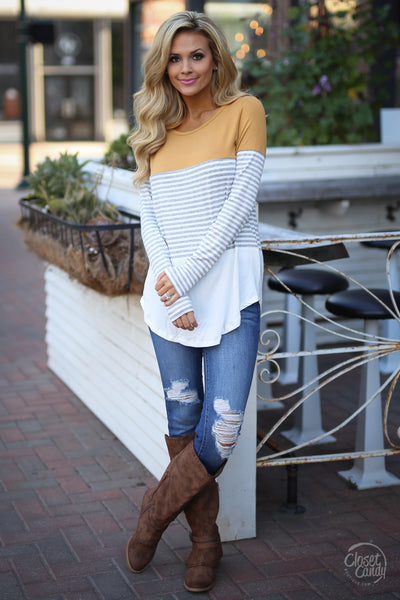 All Day Everyday Long Sleeve Top - mustard and stripe top, fall outfit, front, Closet Candy Boutique