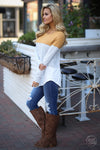All Day Everyday Long Sleeve Top - Mustard and white contrast stripe top, Closet Candy Boutique 2