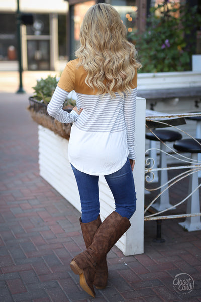 All Day Everyday Long Sleeve Top - mustard and stripe top, fall outfit, back, Closet Candy Boutique