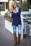 So Irresistible Top - navy blue cowl neck asymmetrical top, front, Closet Candy Boutique