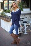 So Irresistible Top - navy blue cowl neck asymmetrical top, side, Closet Candy Boutique