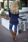 So Irresistible Top - navy blue cowl neck asymmetrical top, back, Closet Candy Boutique