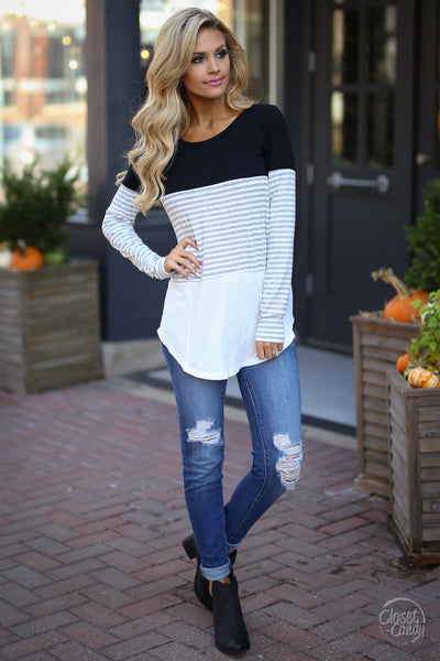 All Day Everyday Long Sleeve Top - black and white contrast top, front, Closet Candy Boutique 1