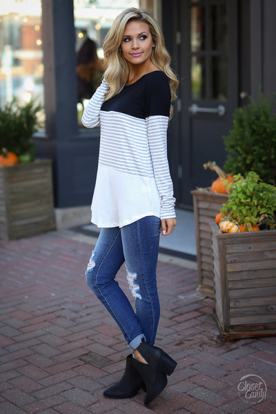 All Day Everyday Long Sleeve Top - black and white contrast top, side, Closet Candy Boutique 3