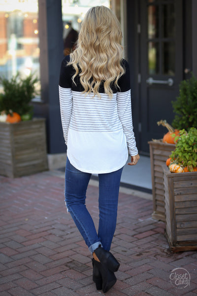 All Day Everyday Long Sleeve Top - black and white contrast top, back, Closet Candy Boutique 4