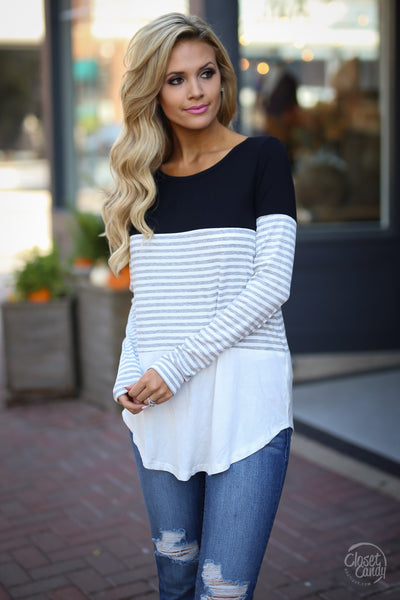 All Day Everyday Long Sleeve Top - black and white contrast top, front, Closet Candy Boutique 2